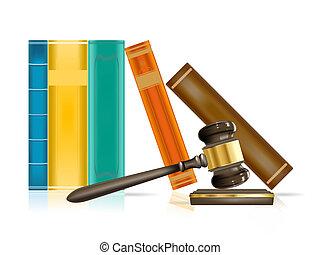 justicia, realista, libros, martillo