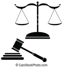 justicia, vecto, negro, ilustración