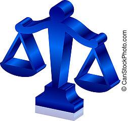 justicia, vector, 3d, icono, escalas