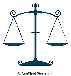 justicia, vector, aislado, escalas
