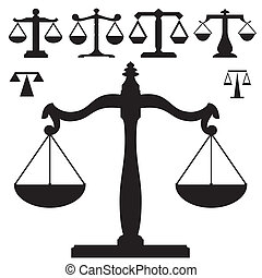 justicia, vector, silueta, escalas
