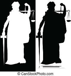 justicia, vector, silueta, estatua