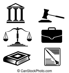 justicia, y, law., vector, icons.