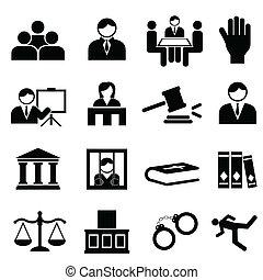 justicia, y, legal, iconos