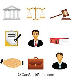 justicia, y, ley, iconos