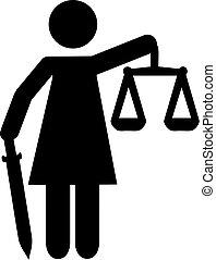 justitia, estátua, pictograma