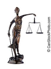 justitia, figur, hos, skalaer., lov, og, justice.