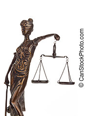 Justitia figure with scales. Law and Justice.