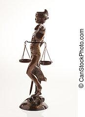 justitia., jelkép, közül, igazságosság