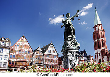 Justitia, Römerberg Frankfurt Germany - Justitia on the...