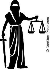 Justitia statue silhouette