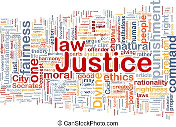 justitie, achtergrond, concept, wordcloud