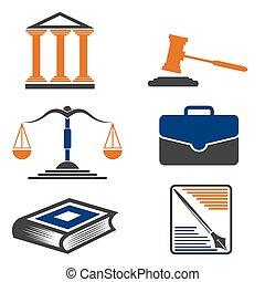 justitie, en, law., vector, icons.