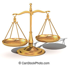 justitie, evenwicht, 3d, goud, schalen