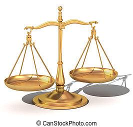 justitie, evenwicht, goud, schalen, 3d