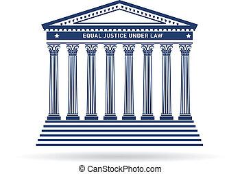 justitie, gebouw, beeld, versieren, logo