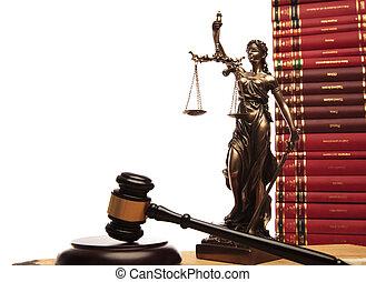 justitie, godin, gavel, en, wet boek