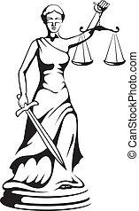 justitie, -, godin, themis