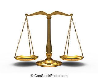 justitie, gouden, schalen