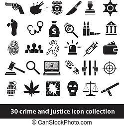 justitie, misdaad, iconen