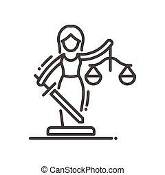 justitie, moderne, -, vector, ontwerp, lijn, illustrative, pictogram