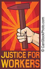 justitie, poster, werkmannen