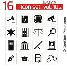 justitie, set, black , vector, iconen