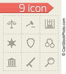 justitie, set, black , vector, iconen