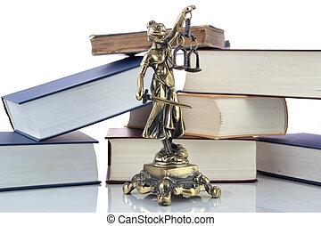 justitie, standbeeld, en, books., advocaat, achtergrond
