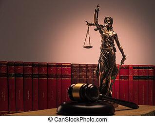 justitie, standbeeld, wet boeekt, en, houten gavel