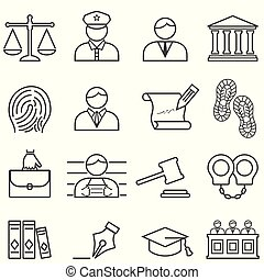 justitie, wet, advocaat, en, versieren, pictogram, set