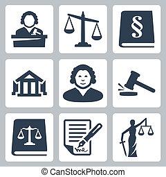 justitie, wet, set, vector, iconen
