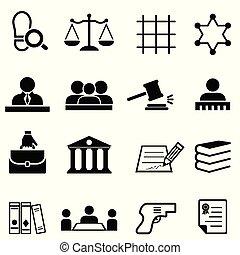 justitie, wet, wettelijk, en, advocaat, pictogram, set