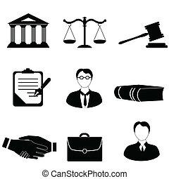 justitie, wettelijk, en, wet, iconen