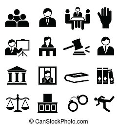justitie, wettelijk, iconen