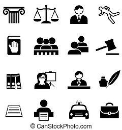 justitie, wettelijk, wet, en, advocaat, pictogram, set