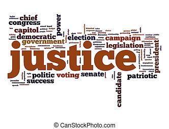 justitie, woord, wolk