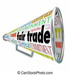 justo, cadena, suministro, comercio, environme, megáfono, sostenible, megáfono