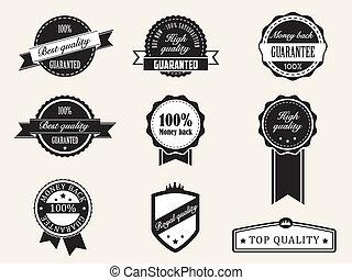jutalom, minőség, és, garantál, jelvény, noha, retro,...