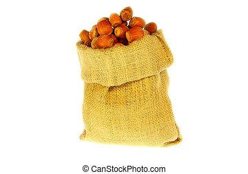 Jute bag full of nuts