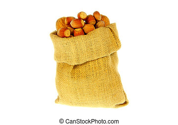 Jute bag full of walnuts and nuts