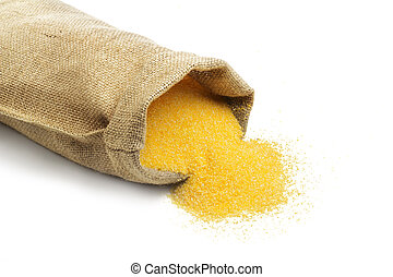 jute bag with cornmeal isolated on white background