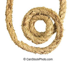 Jute rope on white background