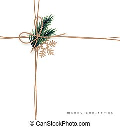 Jute rope with bow knot and spruse branch. Linen ropes for Christmas banners, cards, packaging. Vector illustration.