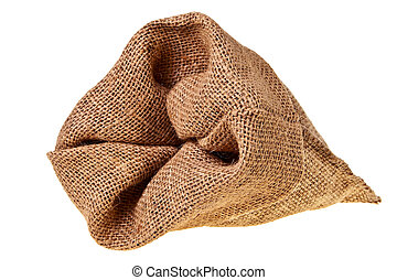 Jute sack isolated over white background.