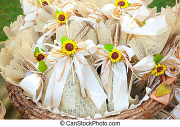 Jute wedding gifts with sunflowers.