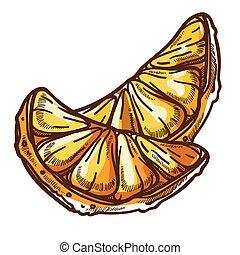 juteux, couper, mandarin, ou, clémentine, manger, mandarine...