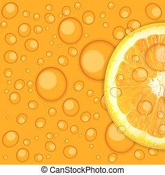 juteux, illustration, vecteur, fond, orange, frais