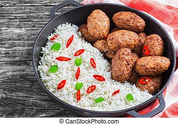 juteux, vue, délicieux, au-dessus, côtelettes, viande, riz