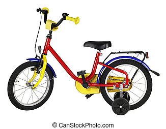studio photography of a multicolored yuvenile bicycle in white back